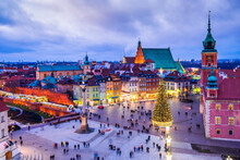 Warsaw, Poland - Christmas Tree In Castle Square