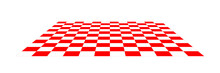 Red And White Checkered Floor. Perspective View