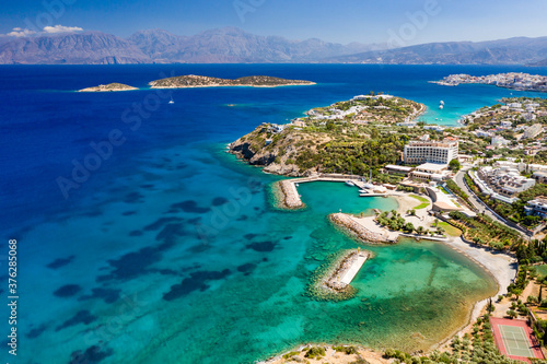 Aerial view of the crystal clear waters of the Cretan sea and Mirabello gulf (Ag Wallpaper Mural