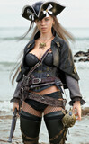 Portrait of a sexy pirate female coming ashore in search of adventure armed with a flintlock pistol and a cutlass. 3d rendering