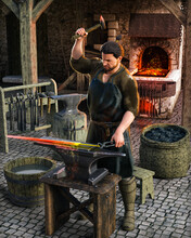 Blacksmith At Work Outside His Shop In A Medieval European Village