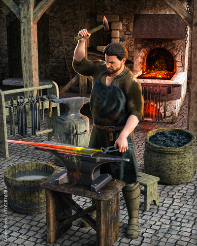 Photo Blacksmith at work outside his shop in a medieval European village