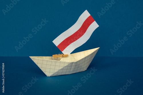 paper boat with the flag of belarus Wallpaper Mural