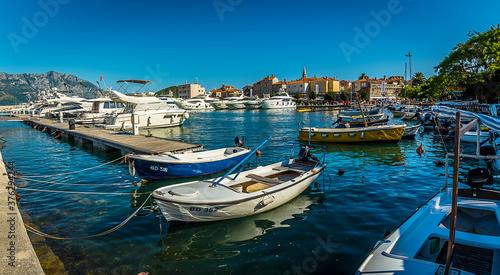 Fotografie, Obraz View from the marina in Budva, Montenegro towards the old town (Stari Grad)
