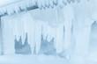 Leinwanddruck Bild - Frozen fence in winter. Huge icicles