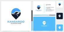 Kangaroo Logo Design And Business Card Vector Premium