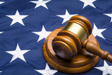 Gavel On American Flag, Close Up