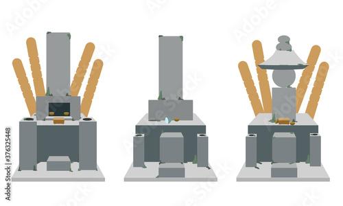 Obraz na plátně 放置された墓石 お供え付き道具付き(線無し)