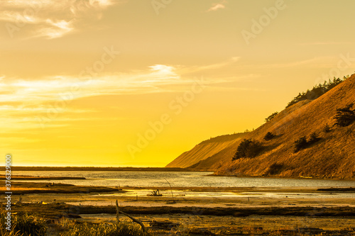 Bluffs at Ebey's Landing  on Whidbey Island Washington at Sunset Canvas Print