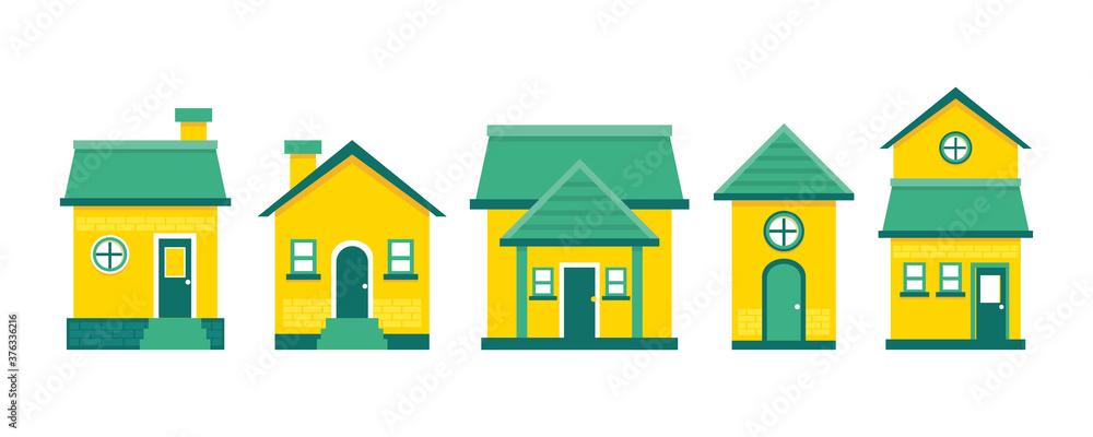 Fototapeta set of vector houses, in flat style