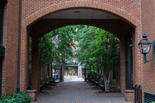 Brick Building With Arched Ent...
