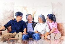 Abstract Colorful Happiness Asia Family Sitting At Sofa On Watercolor Illustration Painting Background.