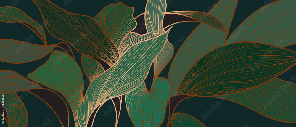 Fototapeta Floral seamless emerald green and copper metallic plant background vector for house deco