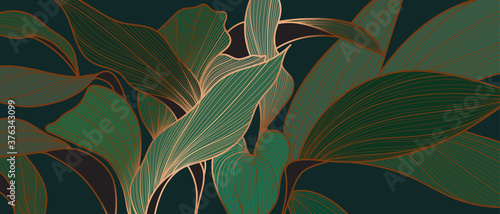 Fototapeta Floral seamless emerald green and copper metallic plant background vector for house deco  obraz