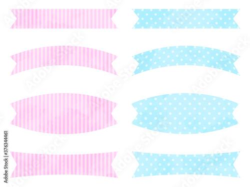 Photo Watercolor textured label set with patterns of stripes and dots