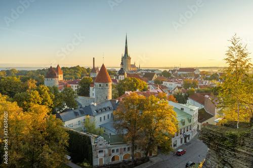 Papel de parede Tallinn city wall and St. Olaf's Church top view