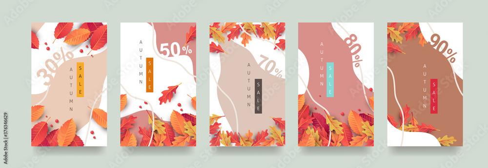 Fototapeta Autumn Gift promotion Coupon banner background. Elegant Autumn Voucher Design.