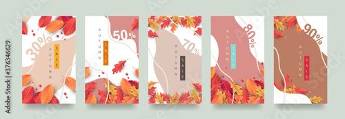 Obraz Autumn Gift promotion Coupon banner background. Elegant Autumn Voucher Design.  - fototapety do salonu