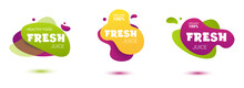 Set Of Colorful Fresh Juice Tag. Bright Splash Shiny Stickers, Organic Emblems, Tags And Labels. For Badges Of Fresh Market, Detox, Farmers Market, Eco Shop, Smoothies Drinks, Juice Cafe, Green Bar.