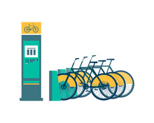 Isolated Bike Rent Stand With ...