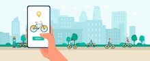 Cityscape With Phone Application Of Bike Rental Service Flat Vector Illustration.