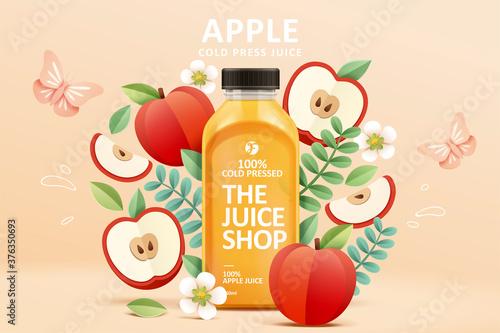 Juice ad in 3d paper cut design Fototapeta