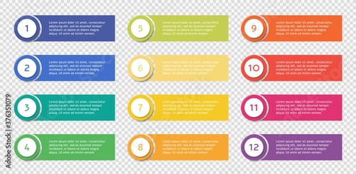 Canvas Number bullet point set with text templates, colorful list points