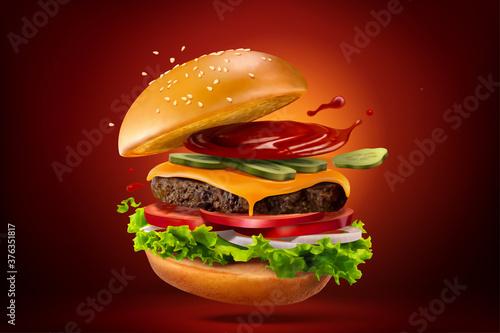 Closeup of homemade hamburger Billede på lærred