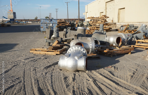 Industrial yard with steel and metal equipment #376352024
