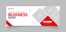Professional Business Facebook Cover Page Timeline Web Ad Banner Template With Photo Place Modern Layout White Background And Vivid Red Shape And Text Design