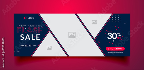 Fotografie, Tablou Flash sale facebook cover page timeline web ad banner template with photo place