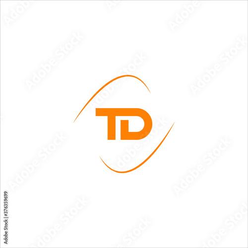 Fototapeta T D joint letter logo abstract design