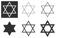 Jewish Star Of David Six-pointed Star In Black With Vector Icon Isolated On White Background. Shield Of David, Or Star Of David, Or Seal Of Solomon, Hebrew Hexagram. A Traditional Jewish Sign And One