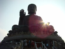 Tian Tan Buddha Park In Hong Kong, Sunlight