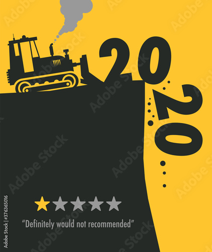 Tractor bulldozer at work on the construction site, Happy New Year 2020 card Fototapeta