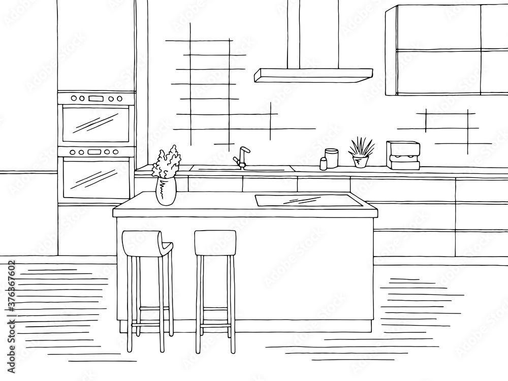 Fototapeta Kitchen room graphic black white home interior sketch illustration vector