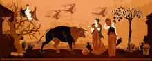 Old History And Culture. Black Figure Pottery Style. Greek Mythology Art. Ancient Greece. Goddesses And People