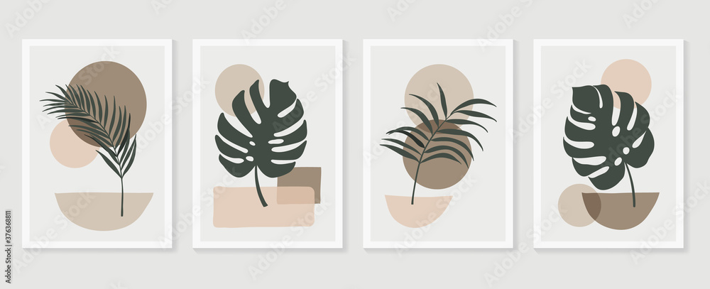 Fototapeta Botanical wall art vector set. Tropical Foliage line art drawing with  abstract shape.  Abstract Plant Art design for print, cover, wallpaper, Minimal and  natural wall art. Vector illustration.