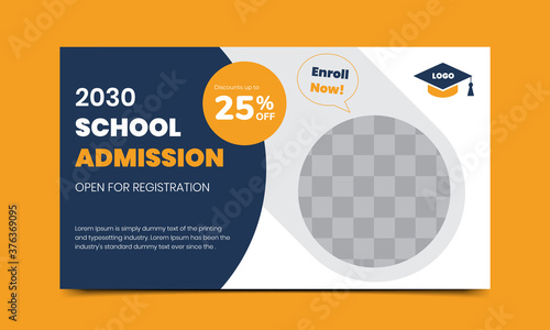 Fotografía Back to school admission offer social media banner design template Premium vecto