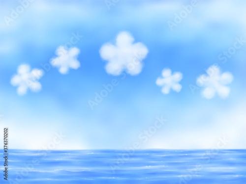 花型の雲が浮く青空と海・横長 Slika na platnu