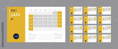 Obraz Calendar 2021 template planner vector diary in a minimalist style - fototapety do salonu