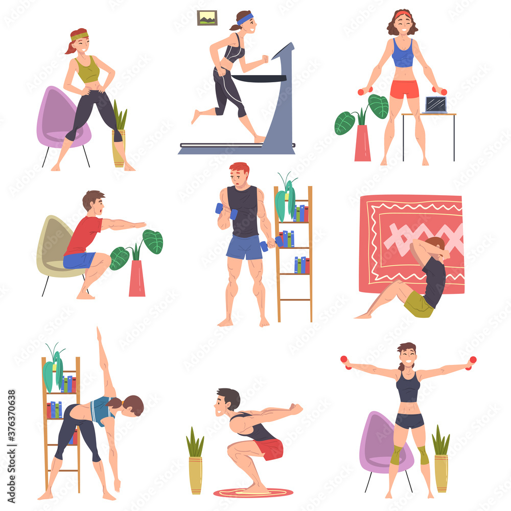 Fototapeta People Doing Sports at Home Set, Men and Women Physical Activity and Healthy Lifestyle Concept, Stay Home, Keep Fit and Positive Cartoon Style Vector Illustration