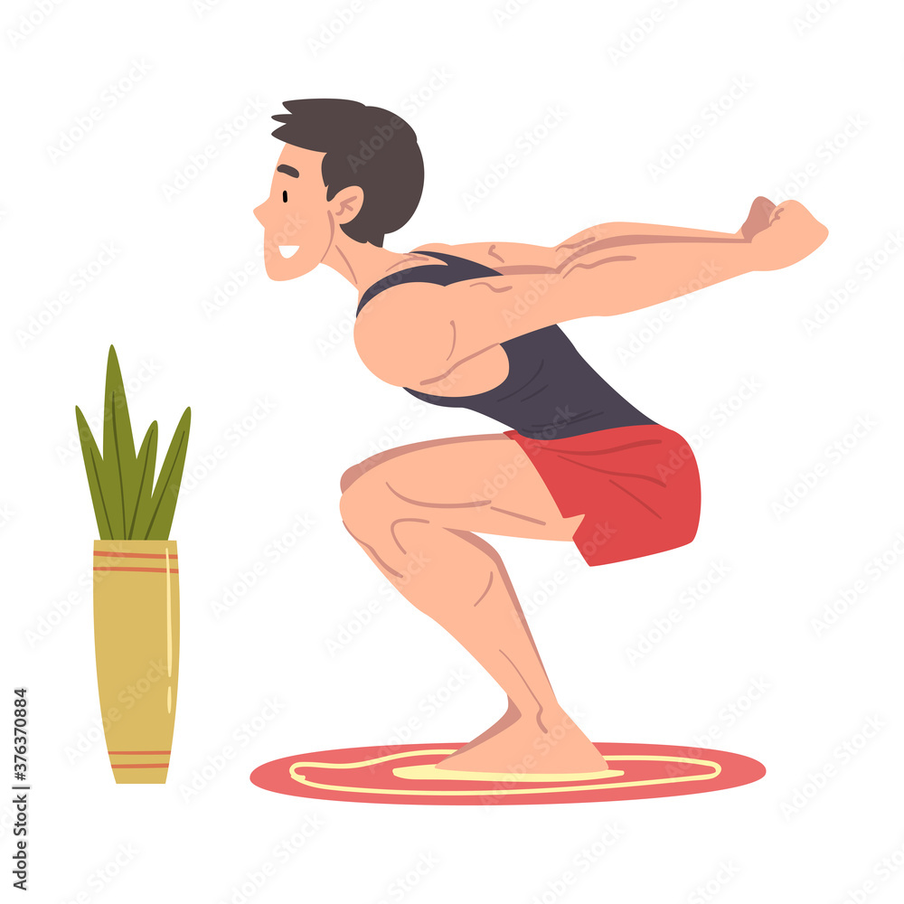 Fototapeta Young Man Doing Squats at Home, Physical Activity and Healthy Lifestyle Concept, Stay Home, Keep Fit and Positive Cartoon Style Vector Illustration