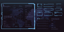 Set Of Futuristic Frames For HUD User Interface. Set Of Game Frames Or Screens With Text Callouts. Futuristic HUD Panels. Holographic Windows Or Panels For Interface. Vector Frames