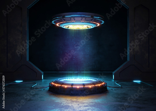Fotomural Abstract background, Futuristic pedestal for product presentation, Display moder