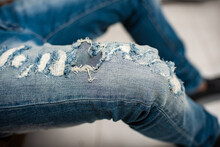 Torn On Blue Jeans
