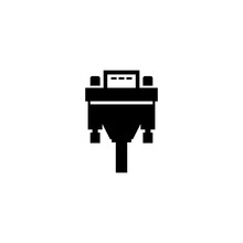 DVI Or VGA Cable, Video Plug Connector. Flat Vector Icon Illustration. Simple Black Symbol On White Background. DVI Or VGA Cable, Video Plug Adapter Sign Design Template For Web And Mobile UI Element.