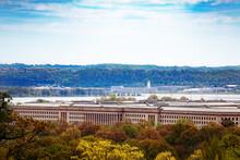 US Pentagon And Potomac River In Arlington, Virginia