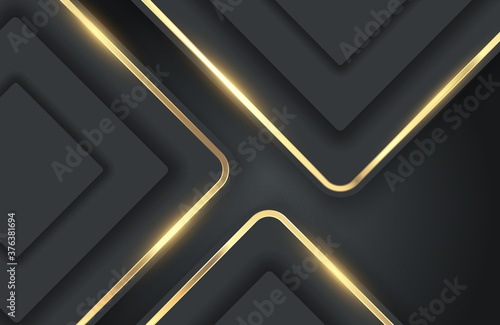 Modern abstract realistic black background with shiny gold metal element Fototapeta