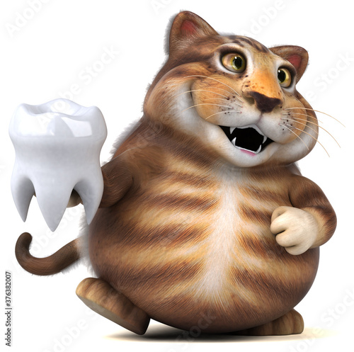 Fun cat - 3D Illustration Fotobehang
